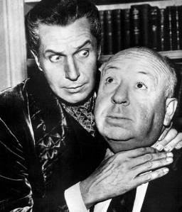 """Actor Vincent Price and director Alfred Hitchcock, filming """"The Perfect Crime"""" (1957)"""