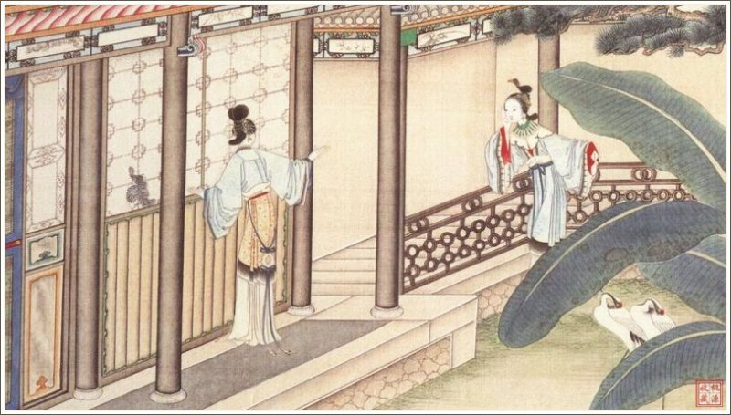 """Illustration for """"A Dream of Red Mansions"""" by Sun Wen (1818-1904)"""