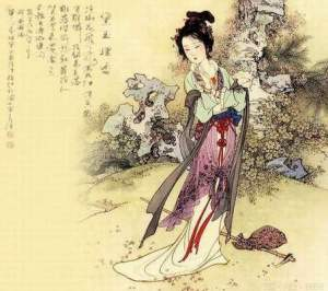"Portrait of Lin Daiyu, heroine in ""A Dream of Red Mansions"""